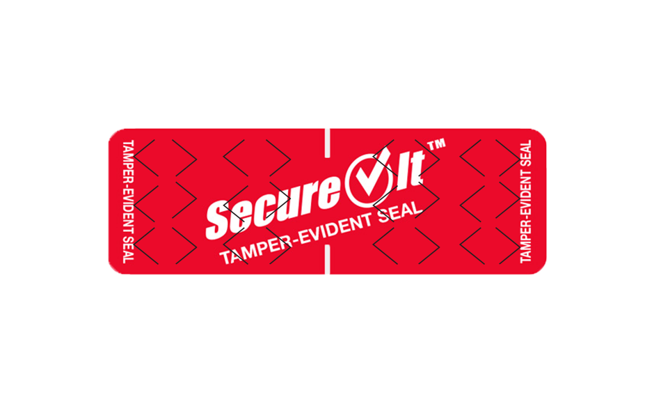 SecureIt™ tamper-evident label with specialty tamper cuts shown